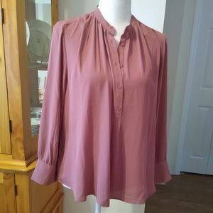 NWT Size MP Ann Taylor blush/ rose long sleeve top